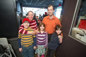 The Lanzkron-Tamarazo family at their coffee shop, Chazzano Coffee Roasters: Parents Lisa and Frank, Max, 12, Nicoletta, 7, and  Doris, 9. (Photo by Brett Mountain)