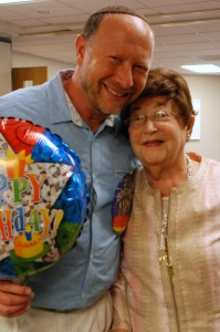 At his birthday party last September, Rabbi Sleutelberg with his late mother, Edith