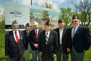 At the Royal Oak site for the memorial are Jewish War Veterans Jerry Order and Art Fishman, Oak Park; Dave George, Auburn Hills; Bob Russman and Marty Meyers, Farmington Hills; and Steven Haas, West Bloomfield. (Photos by Jerry Zolynsky)