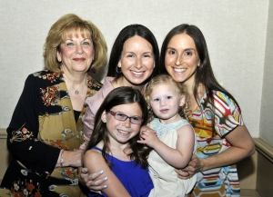 Yolanda Tisdale with her daughters, Risa VanDerAue and Rabbi Jennifer Kaluzny, and granddaughters Alli VanDerAue and Bayla Kaluzny.