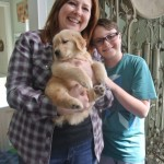 Nicole, puppy Kobie and Logan Morof