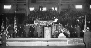 Detroiters mark the first anniversary of Israel's independence on May 15, 1949, at the State Fair Coliseum.