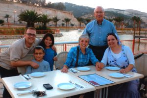 Pearlena and Jason Bodzin of West Bloomfield in Maale Adumim with their Israeli family: son-in-law Noam Raz, grandchildren Matan and Eliana and their daughter, Beth, far right.