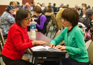 Nancy Triest and her Partners mentor, Janet Snider, at Tuesday night learning in the Partners Study Hall