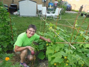 Judy Front pulls up a beet from her bountiful garden.