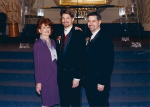 Micki Grossman, her son Ross and his partner, Alan Ellias, at their  commitment ceremony at Temple Israel in 2000