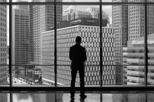 Jake Cohen of Detroit Venture Partners views Downtown from the Compuware Building.