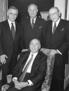 In 1988, Eugene Applebaum, seated, surrounded by other local Jewish leaders Joel Tauber, Al Taubman and Max Fisher