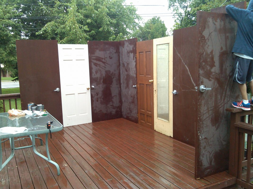 The Rosenzweig family built its first sukkah from recycled doors. & Recycled Sukkah - Detroit Jewish News Pezcame.Com