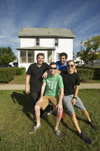 Jordan Rosenbaum, Josh Fishman, Josh Stewart and Ben Goutkovitch outside their new home in Royal Oak