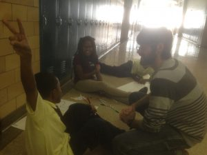 Michael Evers hanging out with friends at Bagley Elementary School in Detroit