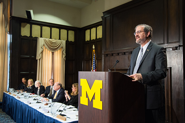 Mark Schlissel talks with the press during the announcement of his appointment.