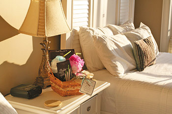 Weekend pampering included individualized welcome baskets in each mom's room