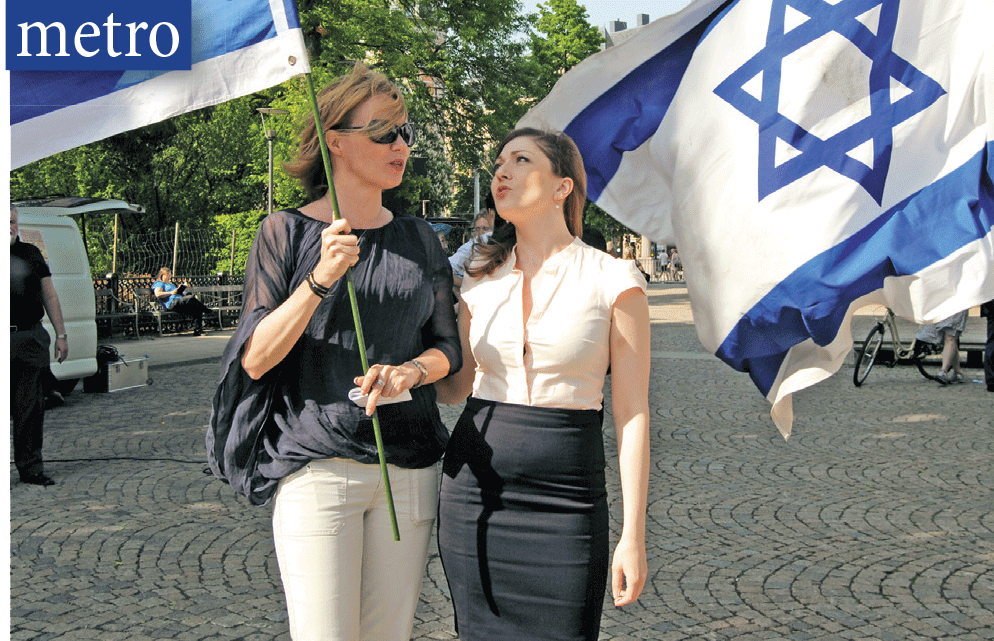 Anna Berg (shown with Saskia Pantell) organized two pro-Israel rallies in Stockholm where she lives