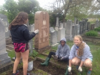 Students from Bloomfield Hills High volunteered in April to help clean up the cemetery.