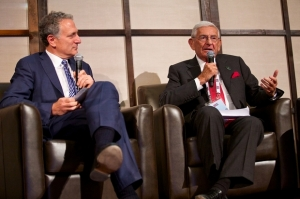 Dan Doctoroff, keynote speaker at the reception for the Detroit Homecoming, talks on stage with businessman and philanthropist Eli Broad.