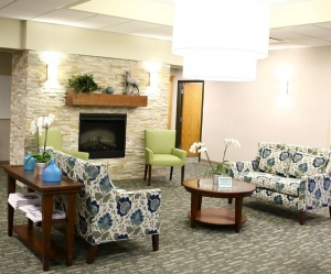 Recently renovated commons area and dining hall at Prentis Apartments in Oak Park