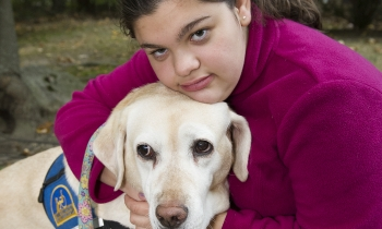Ariella Selesny with her service dog, Davielle II.