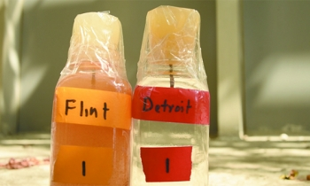Bottles contain brownish water drawn in Flint and clear water from Detroit.  The contamination is obvious.