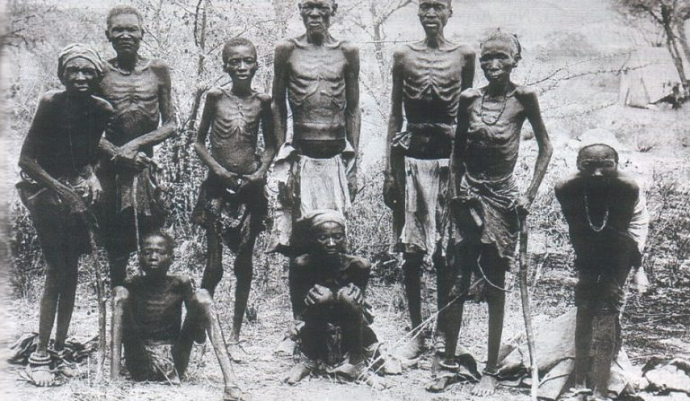 Surviving Herero tribesmen after escaping German executioners through the arid desert in German Southwest Africa (circa 1907)