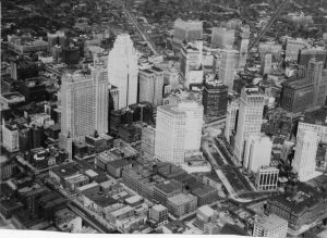 Downtown Detroit in 1941 featured a variety of stores, but the streets closest to the waterfront (lower left) were shabby and unimpressive.