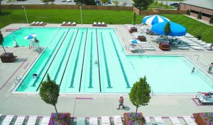 An overhead view of the JCC pool