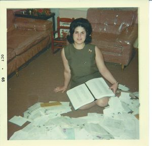 Karen Tintori Katz was co-president of the Michigan chapter of the Beatles Fan Club in the 1960s; in this 1965 photo, she looks at letters and petitions supporting the Beatles that she circulated in 1964.