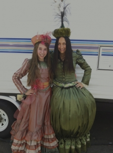 Cousins Emma Raimi, 13, of Los Angeles (she is the daughter of Sam Raimi and wife Gillian) and Rose Rubin, 18, of Farmington Hills in costume as extras (pre-hair and makeup) for Oz the Great and Powerful