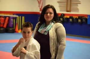 Karate training has helped Jakeb Bradburn with his ADHD, says his mother, Cristene Hall.