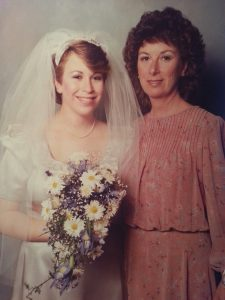 Laura Last Solomon at her wedding with her late mother, Marcia Last