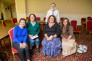 Barbara Moretsky, Bloomfield Hills; Lynn Keidan-Segel, Farmington Hills; Karen Myerson, Bloomfield Hills; Marie Nagar, Royal Oak with Rabbi Sasson Natan