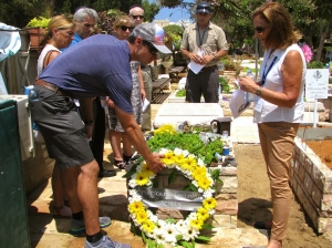 "Laying down a wreath at the grave of Sean Carmeli, an IDF ""Lone Soldier"" from Texas"