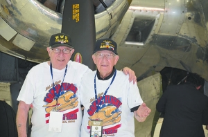 In Washington, D.C., at the WWII Memorial: Marty Myers and Art Fishman, both 87 and lifelong friends, served  in the U.S. Navy.
