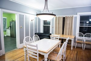 A large dining room off the kitchen