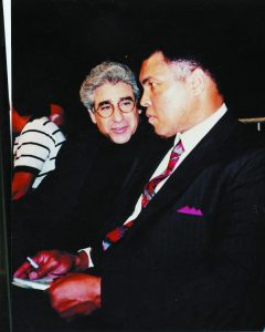 Dr. Stuart Kirschenbaum and Muhammad Ali are ringside March 7, 1987, at Cobo Hall in Detroit for a boxing match between Thomas Hearns and Dennis Andries.