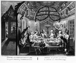 Bernard Picart's engraving shows a sukkah with a brass chandelier, 1724
