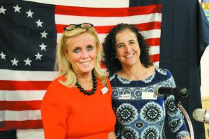 Jennifer Rosenberg, right, head of school of Hebrew Day School of Ann Arbor, welcomes Congresswoman Debbie Dingell. (Credit: Max Glick)