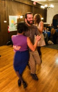 Evan Lebow Wolf of Detroit dances with his partner Cheryl Wong from Dexter.